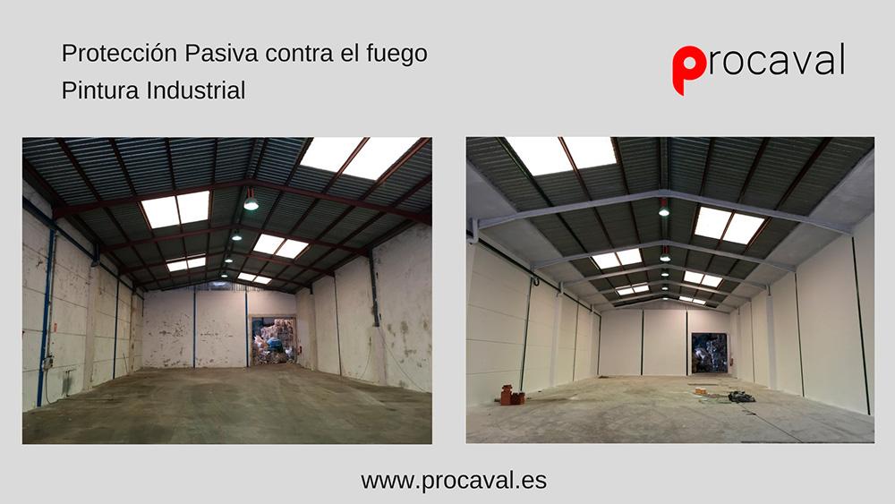Pintado de paredes y estructura metálica en nave industrial (Procaval)