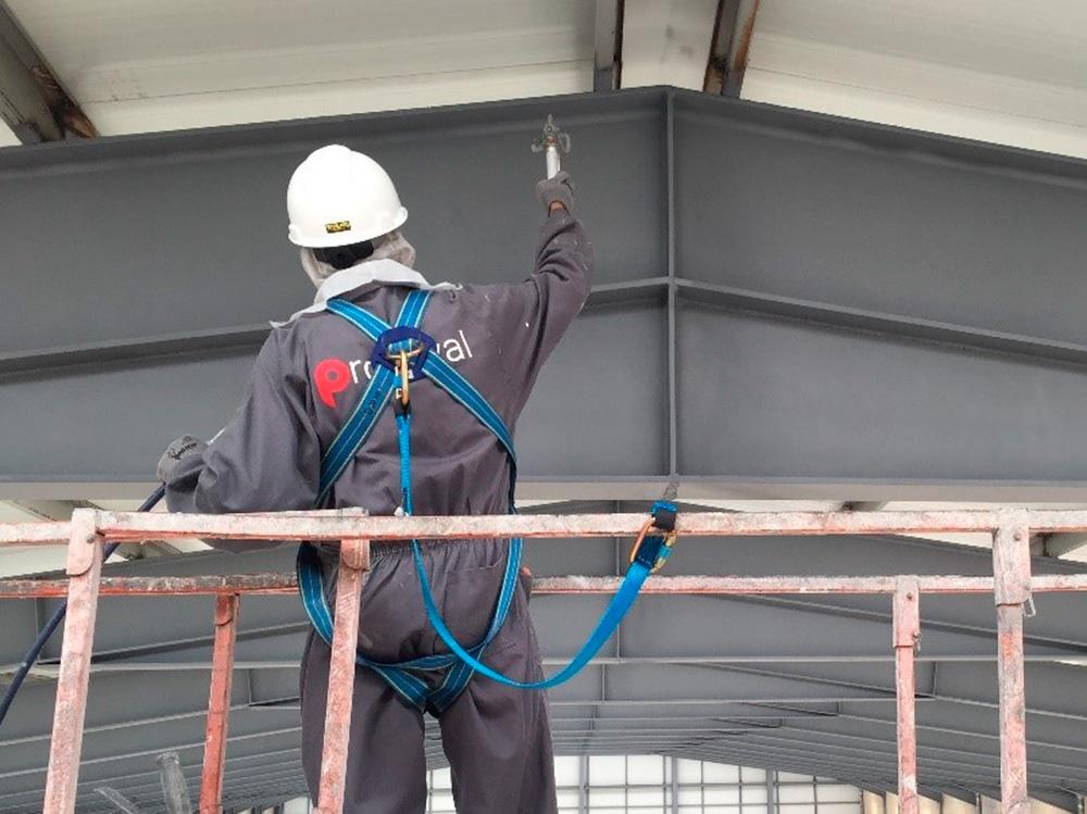 Aplicación de esmalte sobre estructura metálica